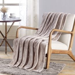 12 Units of Santorini Embossed Geometric Pattern Comfort And Soft Throw Blanket In Ivory - Micro Plush Blankets