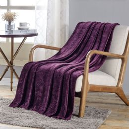 12 Units of Cedar Embossed Geometric Pattern Soft And Cozy Throw Blanket In Plum - Micro Plush Blankets