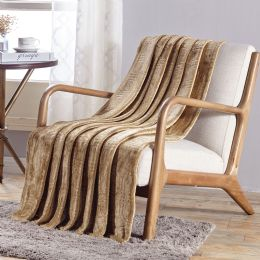 12 Units of Cedar Embossed Geometric Pattern Soft And Cozy Throw Blanket In Tan - Micro Plush Blankets