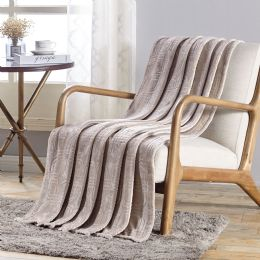 12 Units of Cedar Embossed Geometric Pattern Soft And Cozy Throw Blanket In Ivory - Micro Plush Blankets