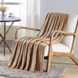 12 Units of Dama Flannel 50 X 60 Throw In Tan - Micro Plush Blankets