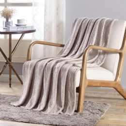 12 Units of Dama Flannel 50 X 60 Throw In Ivory - Micro Plush Blankets