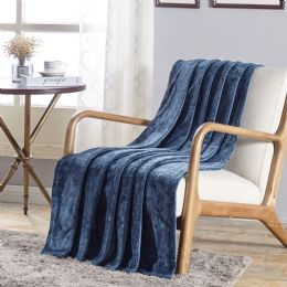 12 Units of Dama Flannel 50 X 60 Throw In Oxford Blue - Micro Plush Blankets