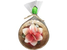75 Units of Small Coconut Shell Candle In Assorted Colors - Candles & Accessories