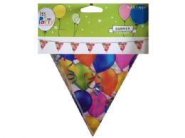 144 Units of birthday balloons triangle banner - Store