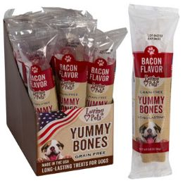 15 Units of Dog Treats Bacon Flavor Stick 2.8 Oz In Cnt Dsply Made In Usa GraiN-Free Yummy Bones - Pet Chew Sticks and Rawhide