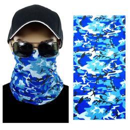 20 Units of Blue Camouflage Multi Function Seamless Tube Bandana - Face Mask