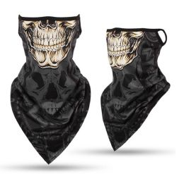 24 Units of Skull Face Print Triangle Face Shield - Face Mask