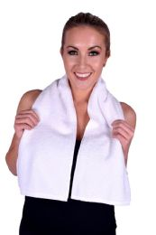 6 Units of Towel White Terry Cotton Gym And Fitness Towel 6 Pack - Bath Towels