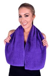 6 Units of Towel Purple Terry Cotton Gym And Fitness Towel 6 Pack - Bath Towels