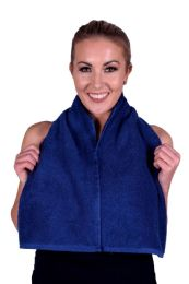 6 Units of Towel Navy Terry Cotton Gym And Fitness Towel 6 Pack - Bath Towels