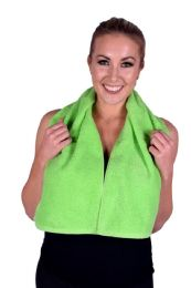 6 Units of Towel Lime Green Terry Cotton Gym And Fitness Towel 6 Pack - Bath Towels