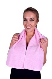 6 Units of Towel Light Pink Terry Cotton Gym And Fitness Towel 6 Pack - Bath Towels