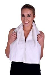 6 Units of Towel Ivory White Terry Cotton Gym And Fitness Towel 6 Pack - Bath Towels