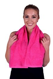 6 Units of Towel Hot Pink Terry Cotton Gym And Fitness Towel 6 Pack - Bath Towels