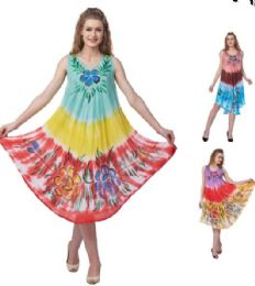 48 Units of Wholesale Tie Dye Tri-color Flower Rayon Umbrella Dresses - Womens Sundresses & Fashion