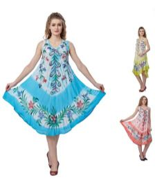 12 Units of Wholesale Tie Dye Floral Umbrella Rayon Dresses Assorted - Womens Sundresses & Fashion