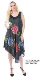 24 Units of Wholesale Acide Wash Hand Painted Flower Umbrella Dresses - Womens Sundresses & Fashion