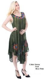24 Units of Wholesale Hand Painted Rayon Acide Wash Umbrella Dresses - Womens Sundresses & Fashion