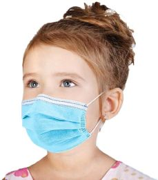 50 Units of Disposable Kids 3ply Solid Blue Face Mask for Health Protection - PPE Mask