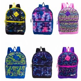 """24 Units of 17"""" Backpacks With Side Mesh Water Bottle Pocket In 6 Assorted Prints - Backpacks 17"""""""