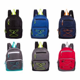 """24 Units of 17"""" Backpacks With Bungee Design - Backpacks 17"""""""