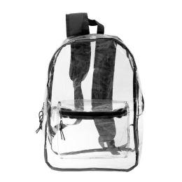 "24 Units of 17"" Kids Clear Backpacks In Black - Backpacks 17"""