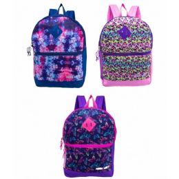 "24 Units of 17"" Backpacks With Side Mesh Water Bottle Pocket In 3 Prints - Backpacks 17"""