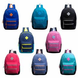 """24 Units of 17"""" Backpacks With Dual Front Zipper Pockets In 8 Assorted Colors - Backpacks 17"""""""