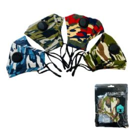 24 Units of Cotton Layered Mask with Valve [Camo] - Face Mask