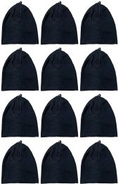 60 Units of Yacht & Smith Warm Fleece Beanie Face Cover And Scarf With Adjustable Strap , Solid Black - Winter Scarves