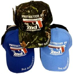 24 Units of Wholesale Protected By The 2nd Amendment Hat - Military Caps