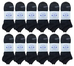240 Units of Yacht & Smith Mens Comfortable Lightweight Breathable No Show Sports Ankle Socks, Solid Black Bulk Buy - Mens Ankle Sock