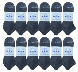 240 Units of Yacht & Smith Mens 97% Cotton Comfortable Lightweight Breathable No Show Sports Ankle Socks, Solid Gray Bulk Buy - Men's Socks for Homeless and Charity