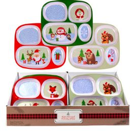 48 Units of Dinnerware Kids Christmas Tray 4 Section 3ast Designs - Christmas Novelties