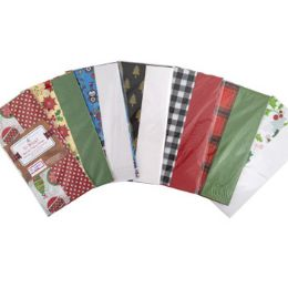 72 Units of Tissue Paper 10sheet 2step Shortfold Xmas Prints/solid - Gift Wrap
