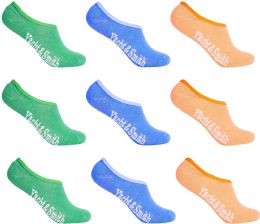 12 Units of Women's Mesh No Show/Silicone No Slip Loafer Sock Liner (Pastel) - Womens Ankle Sock