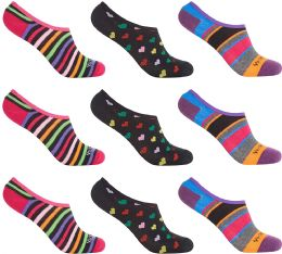 12 Units of Women's Mesh No Show/Silicone No Slip Loafer Sock Liner (Asst Prints) - Womens Ankle Sock