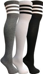 3 Units of Yacht & Smith Womens Over The Knee Socks Referee Style Thigh High Knee Socks Striped Black, White And Gray - Womens Over the knee sock