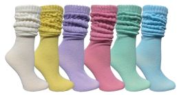6 Units of 6 Pack Yacht & Smith Womens Cotton Slouch Socks, Womans Knee High Boot Socks (asst Pastel) - Womens Crew Sock