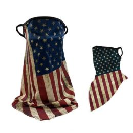 36 Units of Neck Gaiter Buff with Ear Loops Americana - Face Mask