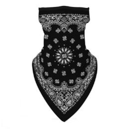 36 Units of Neck Gaiter Buff with Ear Loops Black Paisley - Face Mask