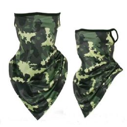 36 Units of Neck Gaiter Buff with Ear Loops Camo - Face Mask