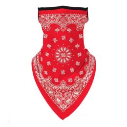 36 Units of Neck Gaiter Buff with Ear Loops Red Paisley - Face Mask
