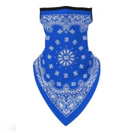 36 Units of Neck Gaiter Buff with Ear Loops Royal Blue Paisley - Face Mask