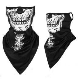36 Units of Neck Gaiter Buff with Ear Loops Skull - Face Mask