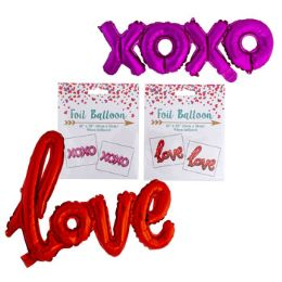 48 Units of Balloon Foil Xoxo Love Script Pink Red - Valentine Decorations
