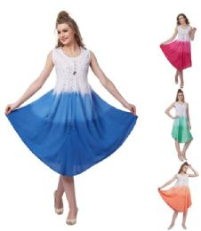 12 Units of Rayon Tie Dye Ombre Umbrella Dresses - Womens Sundresses & Fashion