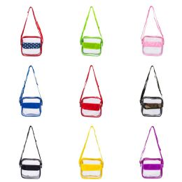 "24 Units of 8"" Pvc Clear Bag With Velcro Pouch In Assorted Colors - Wallets & Handbags"