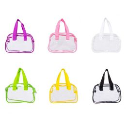 "24 Units of 11"" Pvc Clear Satchel Bag In Assorted Colors - Wallets & Handbags"